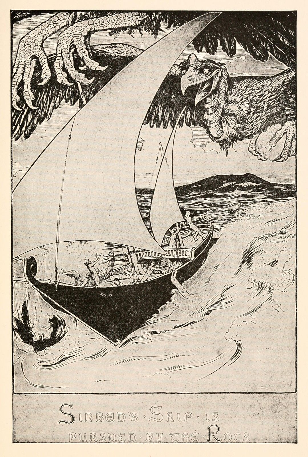"John D Batten - Illustration from The Fifth Voyage Of Sinbad The Sailor, ""Fairy Tales From The Arabian Nights,"" 1915"