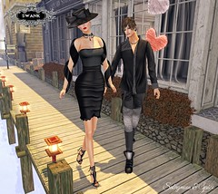 Sabrymoon and Spice wearing Destiny Style Barbra dress black and Natan shirt and pants @ Swank February