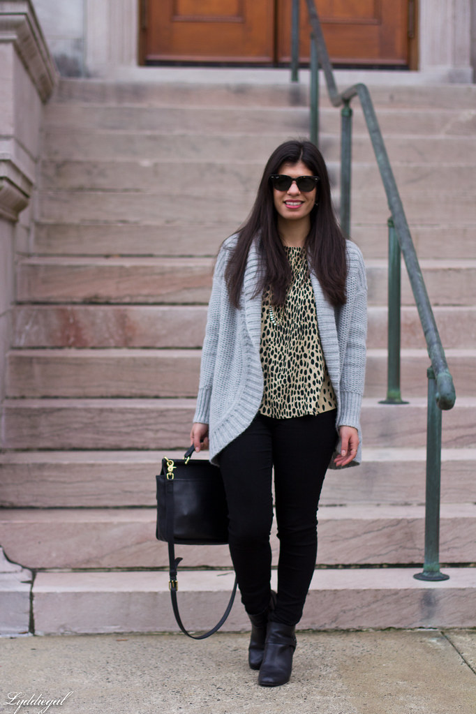 grey cardigan, leopard blouse, black denim, coach bag.jpg