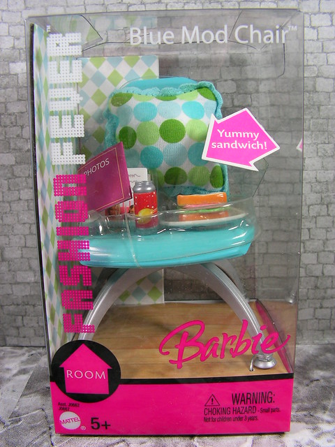 2005 Barbie Fashion Fever Blue Mod Chair J0667 (1)