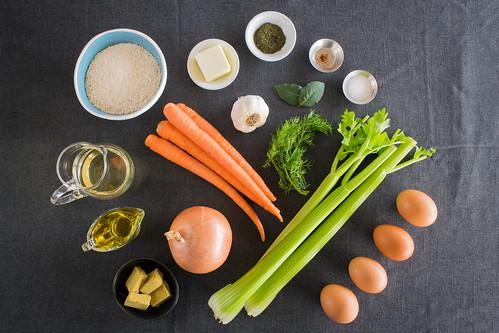 fresh, simple ingredients to make vegetarian matzo ball soup
