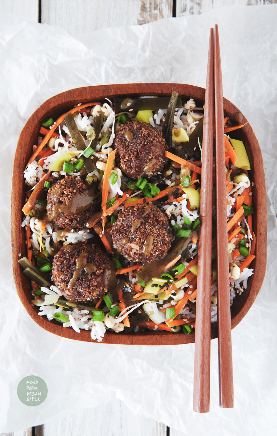 Vegan asian protein meatballs with adzuki beans, purple rice, five spice and miso