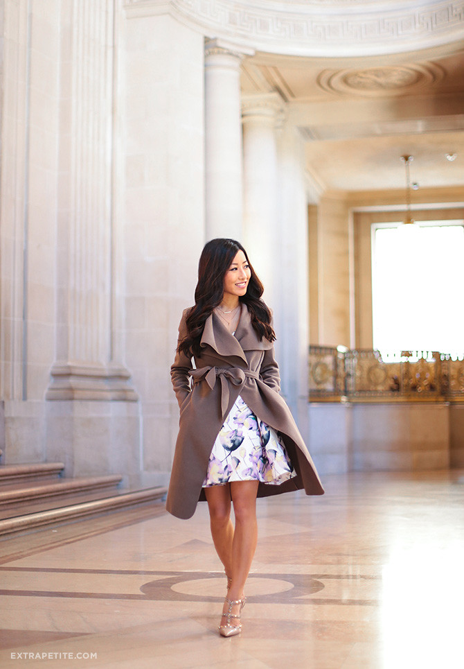 petite spring fashion_floral dress wrap belted coat outfit