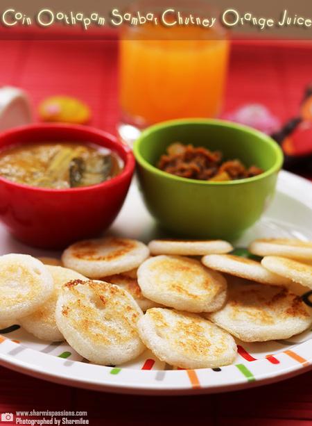 Coin Oothappam,Chutney,Sambar,Orange Juice