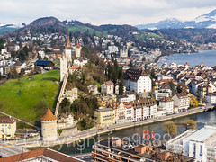 Musegg Wall and Towers, Old Town of Lucerne, Central Switzerland