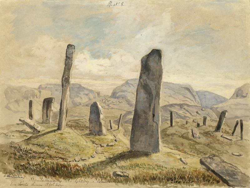 Standing stones, Greby grave field, Tanum parish, Bohuslän, Sweden