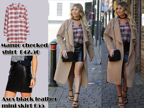 Checked shirt with black leather mini skirt & camel waterfall coat: Grunge trend