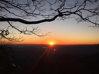 Sunset on a ridge just before Muskrat Creek shelter