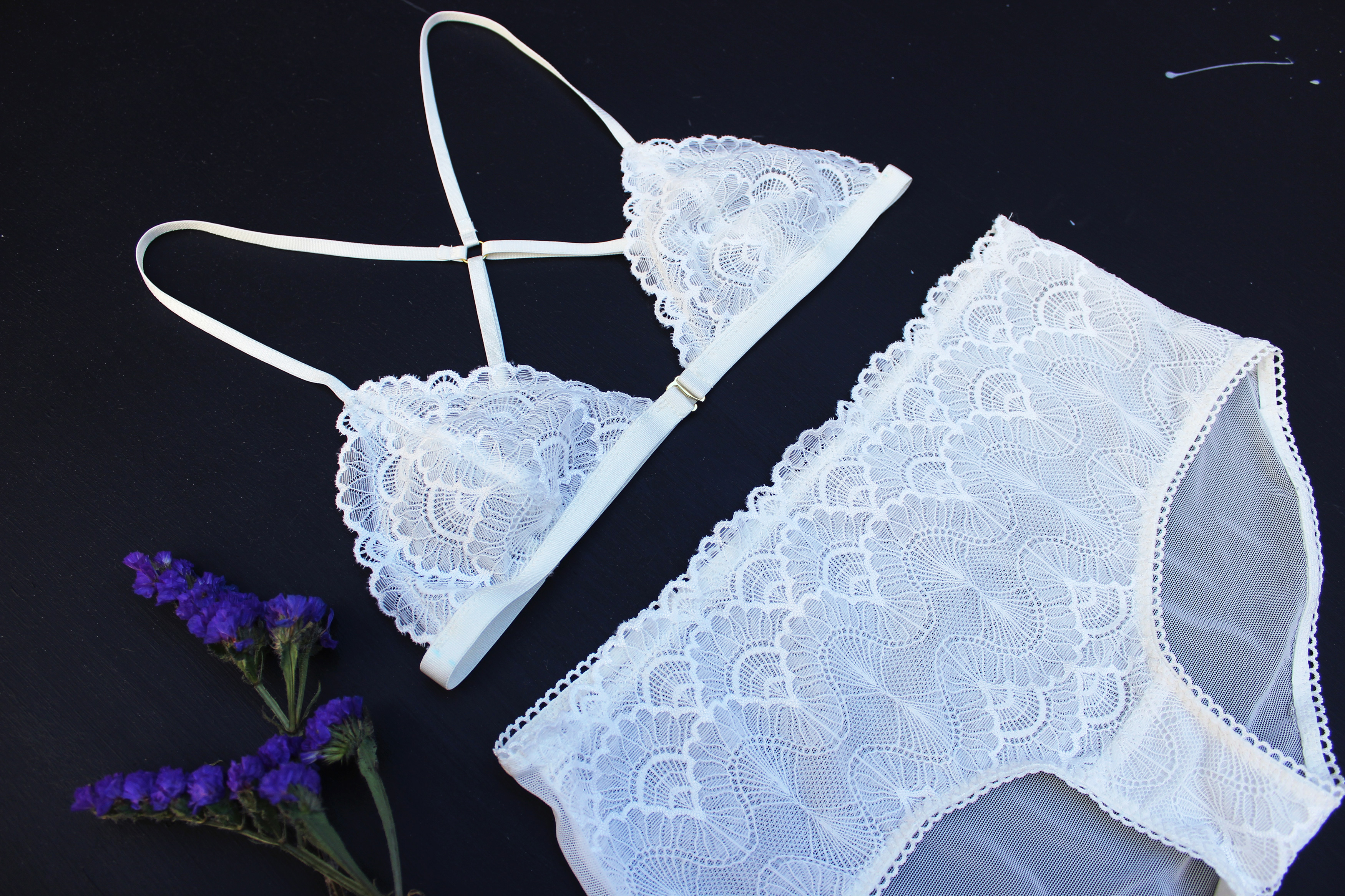 DIY White Strappy Bralette Lingerie Tailor Made Shop
