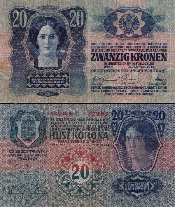 20 Kronen Rakúsko-Uhorsko 1913, I. vydanie P13
