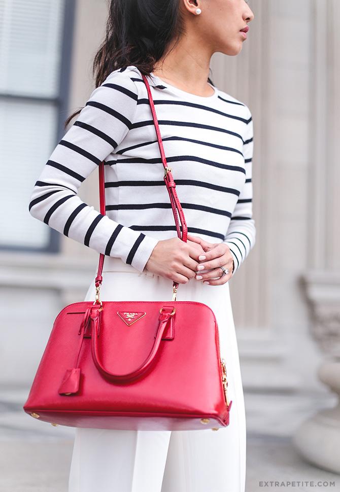 red prada saffiano promenade bag classic outfit