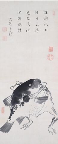 河豚とカエルの相撲図