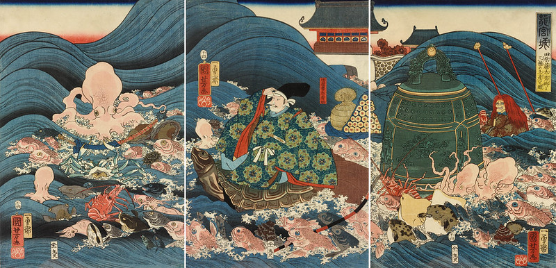 Utagawa Kuniyoshi - Tawara Toda Hidesato escorted through the waves on the back of a giant turtle by the Dragon King's fishy retainers, having received the Three Gifts. 1858 (full triptich)