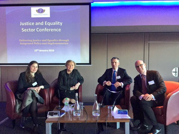"Panel of speakers from the Justice and Equality sector at conference on ""Delivering Justice and Equality through Integrated Policy and Implementation"""