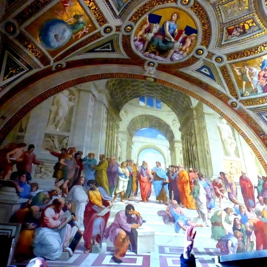 A painting decorating the former office of the Pop was completed by Michaelangelo's rival, Rafael while he painted the Sistene Chapel