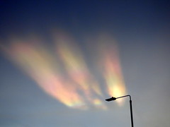 Nacreous clouds through the window