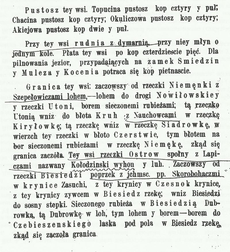Фрагмент інвентару Чачэрскага староства 1704 г., дзе пералічваюцца прыналежныя да вёскі Рэчка землі. У тым ліку згадваецца і Рудня.