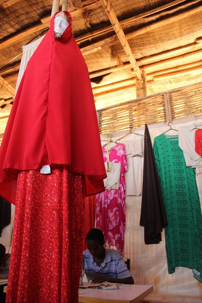 Somali refugees learn tailoring skills as part of the JRS livelihoods project in Melkadida refugee camp. Some graduates have gone on to start their own businesses in the community (Angela Wells).