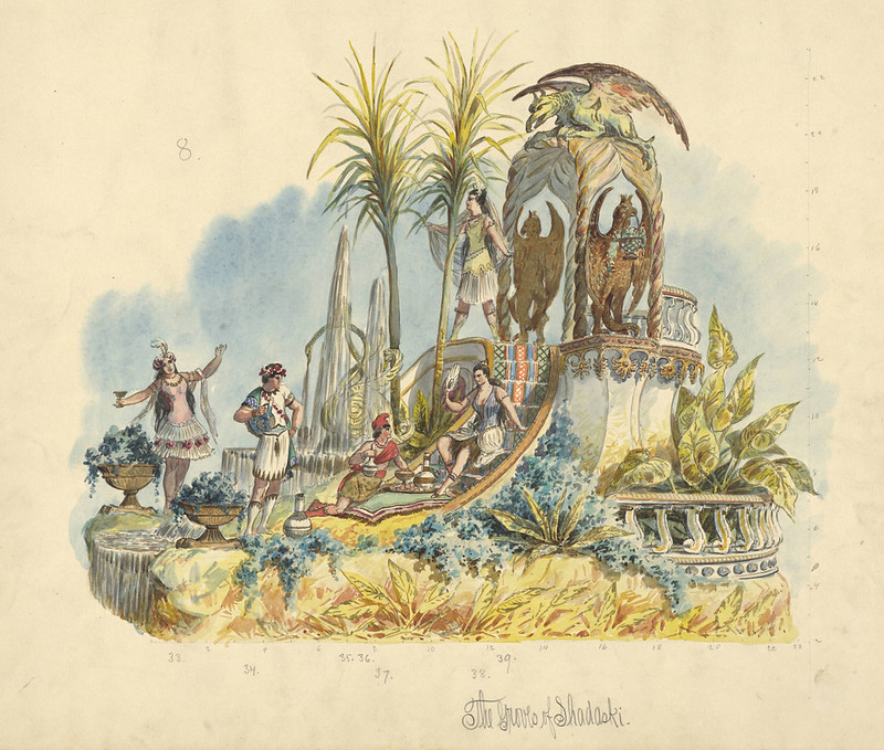 Carlotta Bonnecaze - The Groves of Shadaski, float design from Krewe of Proteus, 1891