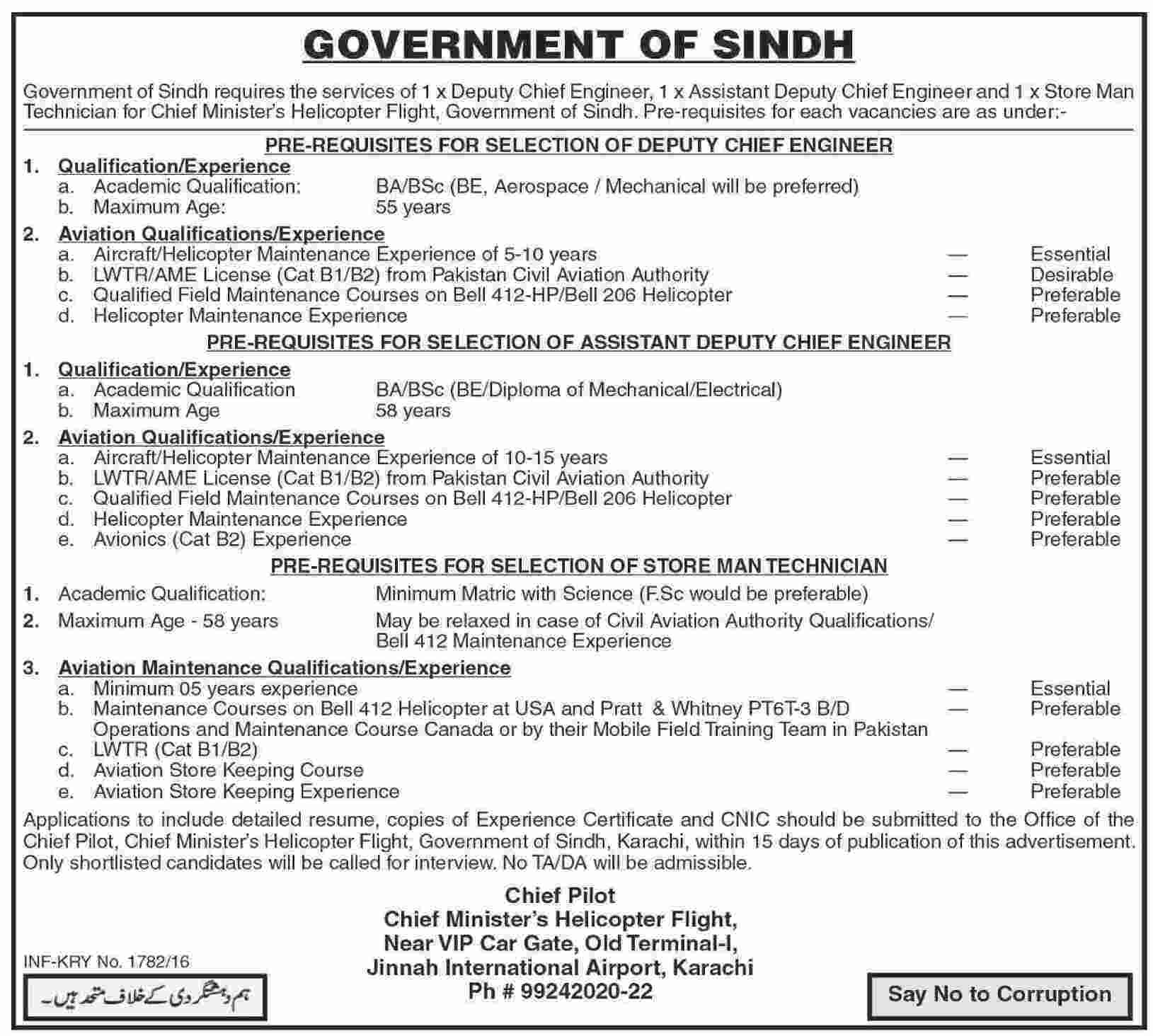 Government of Sindh Jobs 2016