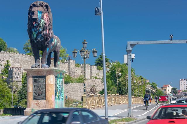 En af løverne syd for Goce Delčev-broen. Medierne kalder nu demonstrationerne den farverige eller kulørte revolution, fordi de protesterende skyder med farvepatroner på bygninger og monumenter i byerne.