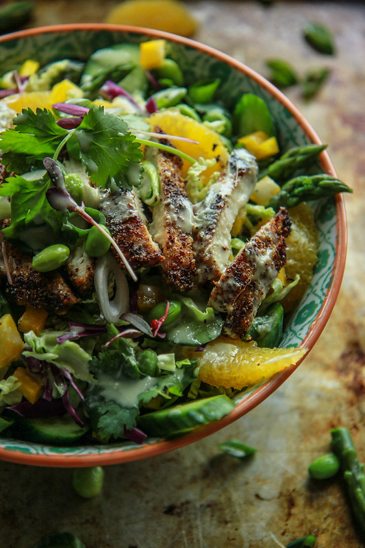 Almond Crusted Chicken and Orange Wasabi Salad