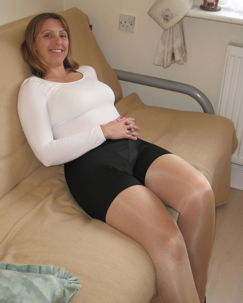 My wife shiny pantyhosed legs
