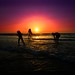 bathing & playing in the sea at sunset - Tel-Aviv beach by Lior. L