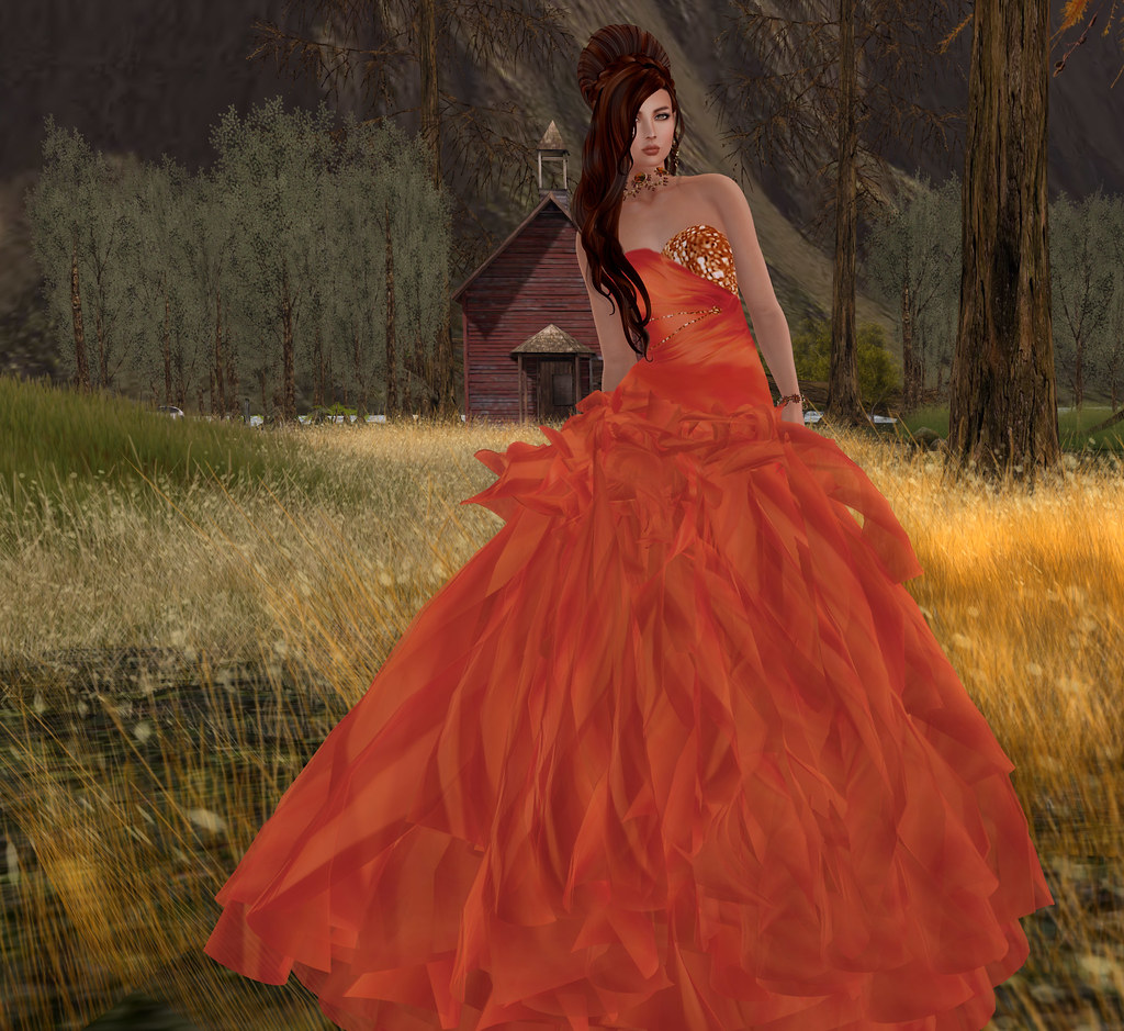 Nancee gown orange, Sascha's Designs