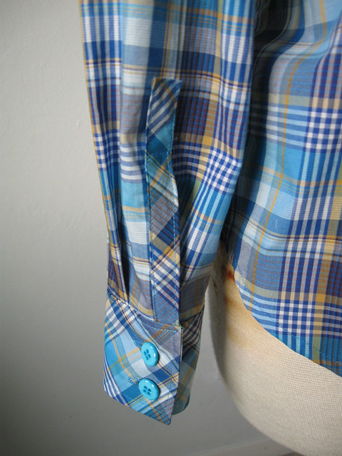 blue plaid shirt cuff