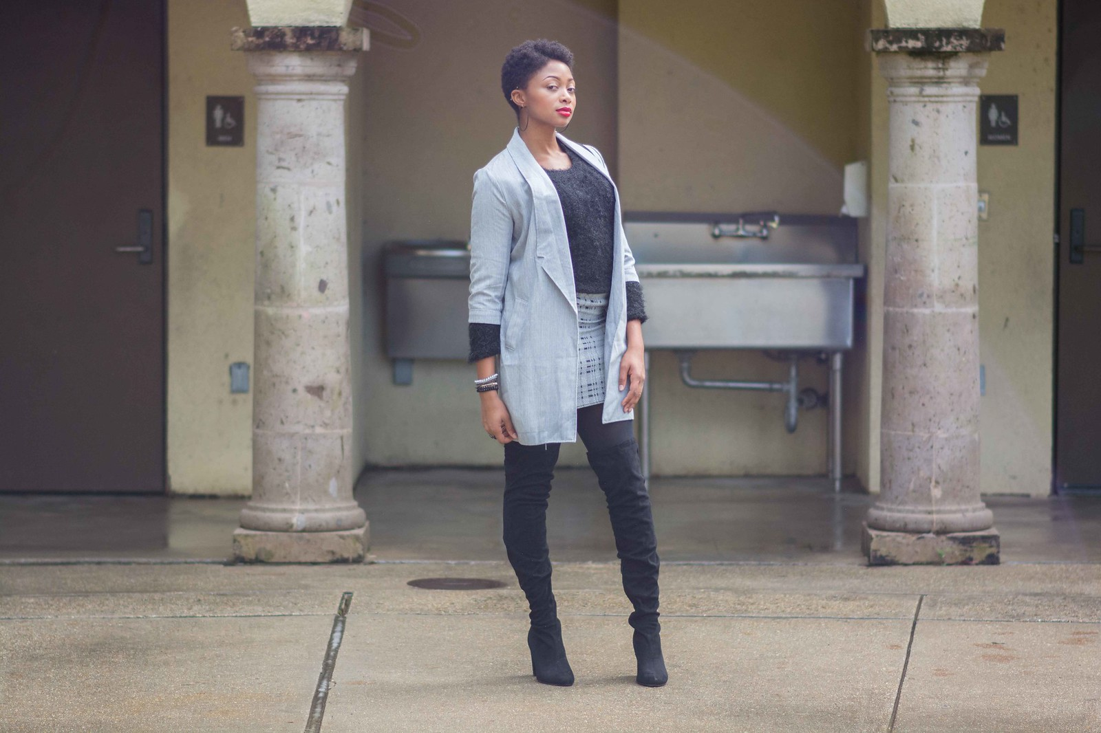 how to style a mini skirt in winter