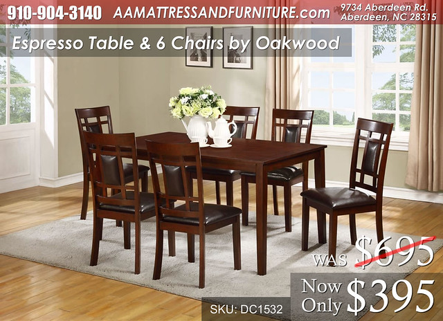 Espresso Table and 6 Chairs WM