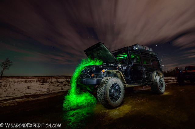 Broken - an attempt at using electroluminescent wire under the hood of the Jeep for some night time light painting