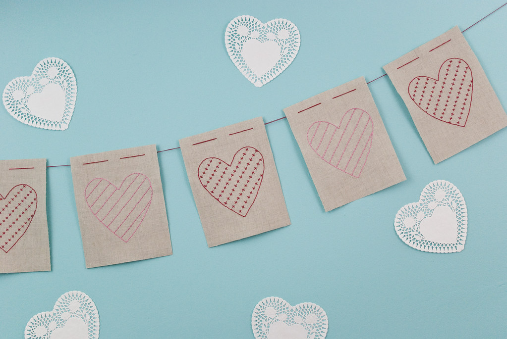 Embroidered Heart Garland