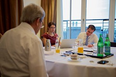 U.S. Secretary of State John Kerry meets with State Department Speechwriter Stephanie Epner and State Department Spokesperson John Kirby on February 12, 2016, at The Charles Hotel in Munich, Germany, as they work on the speech he will deliver at the Munich Security Conference. [State Department photo/ Public Domain]