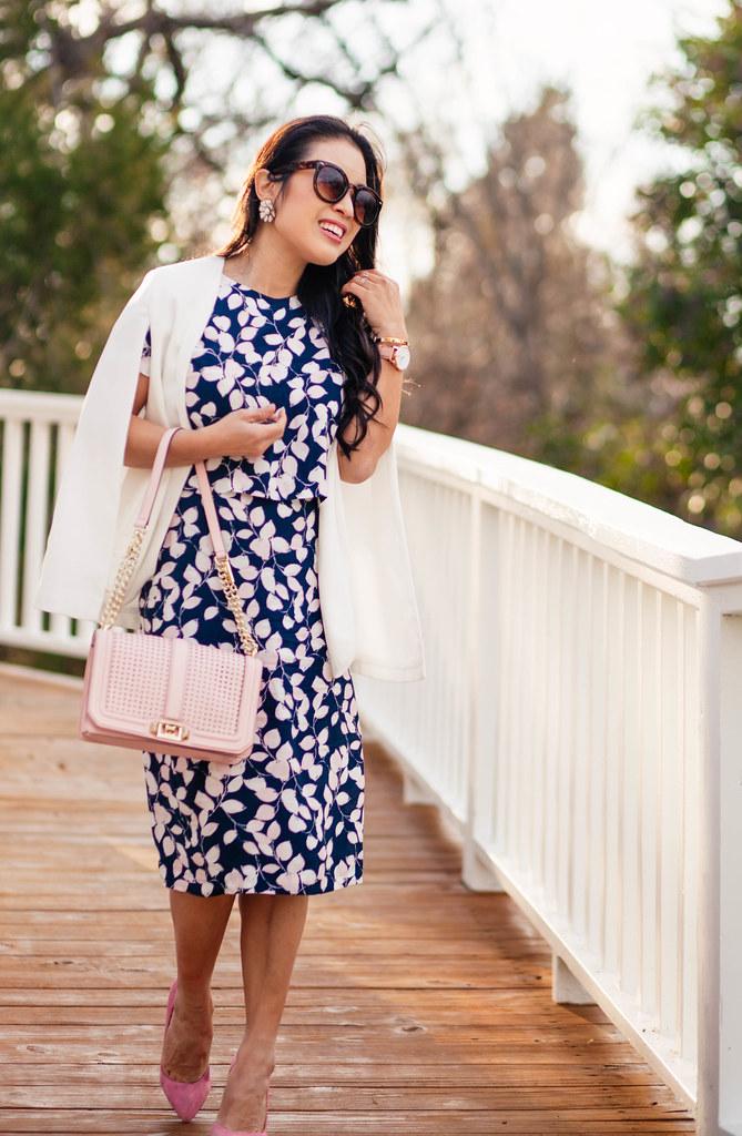 cute & little blog | petite fashion | white cape blazer, leaf print crop top midi skirt set, pink pumps, pink bag | work spring outfit