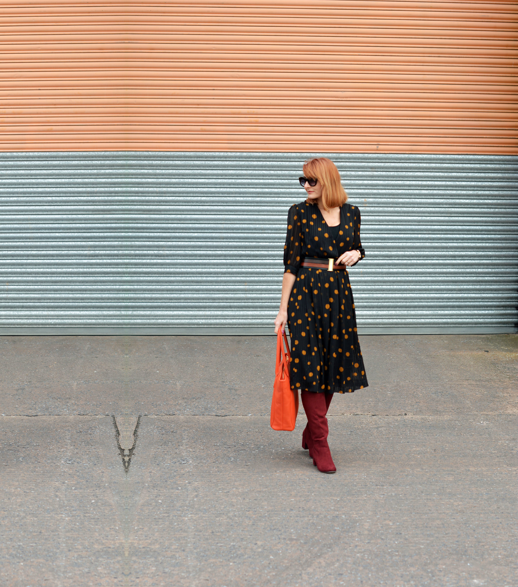 Vintage 70s polka dots dress, burgundy boots, orange tote | Not Dressed As Lamb