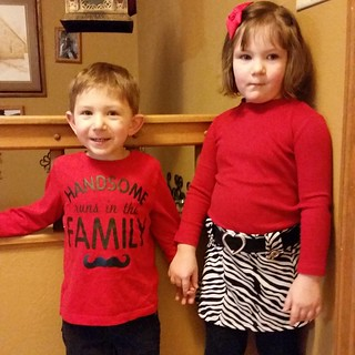 Happy Valentine's Day!  My little sweeties dressed up for their party at school.