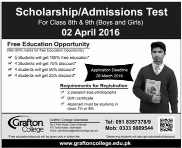 Scholarship/Admissions Test 03-25-2016
