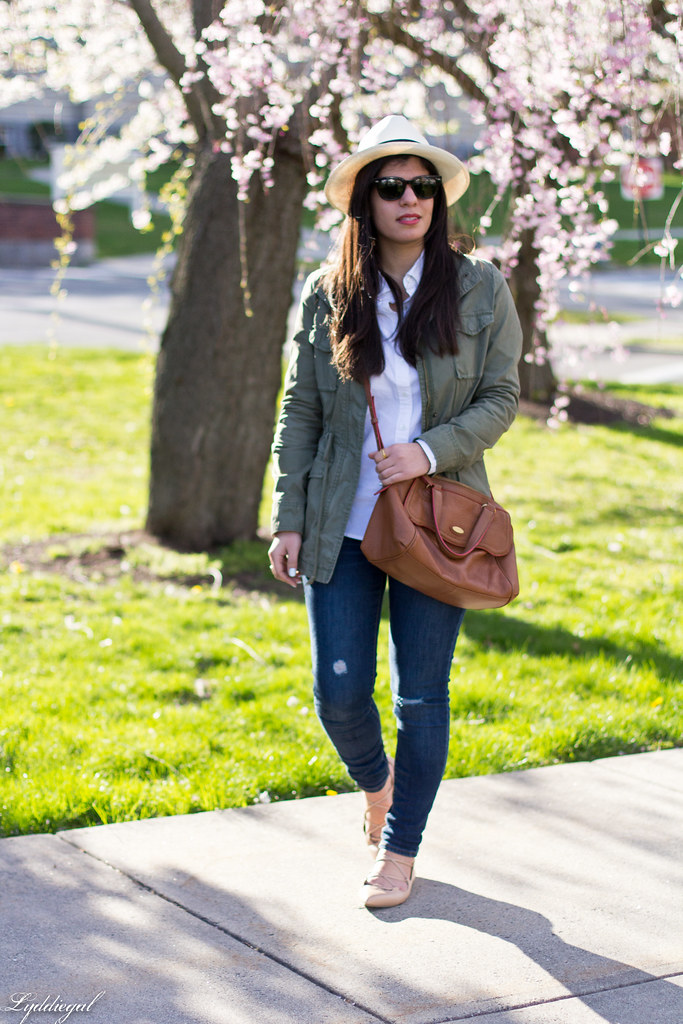 field jacket, white shirt, panama hat, laceup flats.jpg