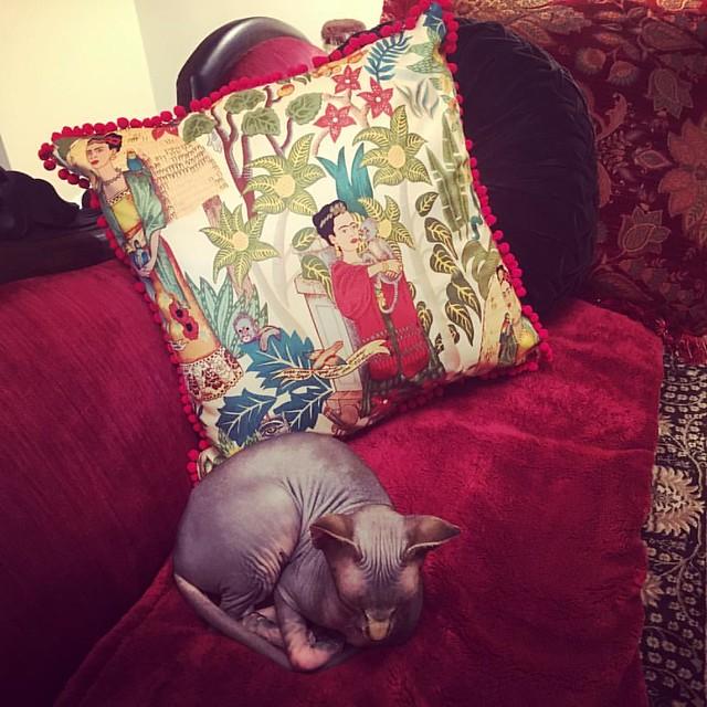 Finished the Frida Kahlo pillow for my neighbor's art opening. #sewing #fridakahlo #frida #kahlo