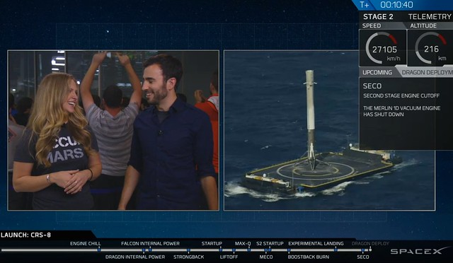 The pride & joy of the SpaceX team on the first successful landing of the booster on the autonomous drone ship at sea.