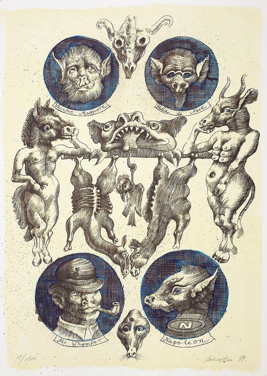 Jan Lebenstein - Illustration for Animal Farm, 1974
