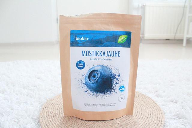 Biokia mustikkajauhe käyttö blogi