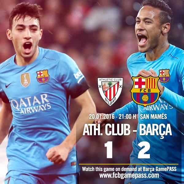 Copa del Rey - Cuartos de Final (Ida): Athletic Club de Bilbao 1 - FC Barcelona 2