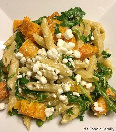 5 Ingredient Butternut Squash, Arugula and Goat Cheese Pasta
