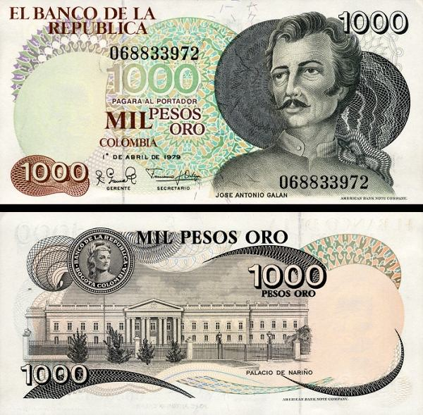 1000 Pesos Oro Kolumbia 1979, P421a