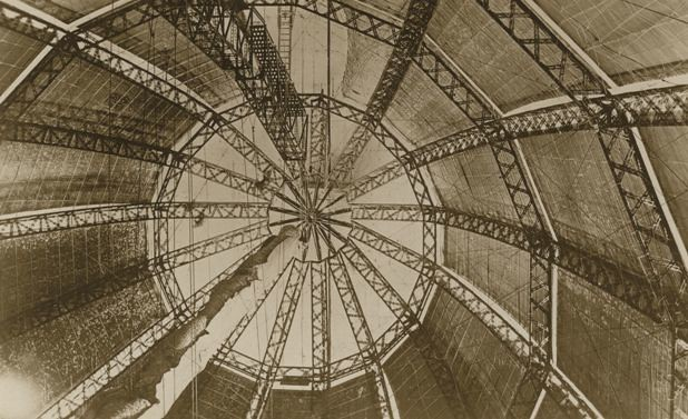 Inside the balloon section of the R100 Airship at Howden Aerodrome 1933 (archive ref DDX1017-1)