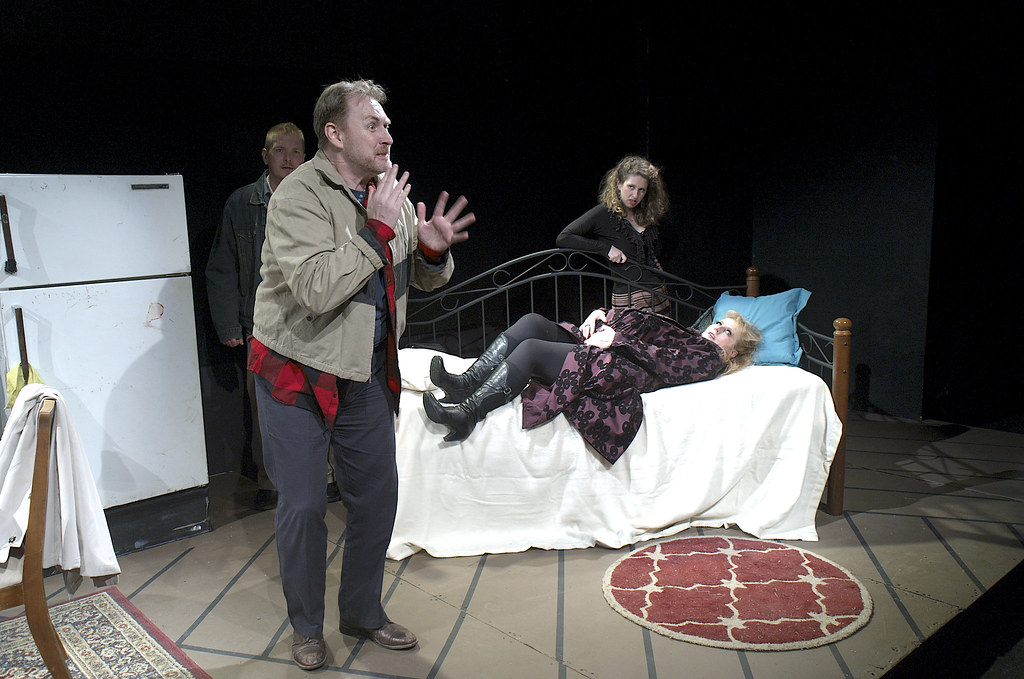 "<p>Darren Marquardt as Giovanni, Mitch Irzinski as Luigi, Moriah Whiteman as Margherita and Hanna Bondarewska as Antonia in ""They Don't Pay? We Won't Pay!"" BY Dario Fo</p>"