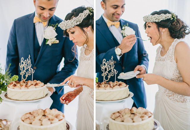 Bride and Groom cutting wedding cake - Garden Chic wedding in Ontario The bride wears #BHLDN wedding dress | Photography: Fern Shin Photography | Read more on Fab Mood - UK wedding Blog #gardenwedding